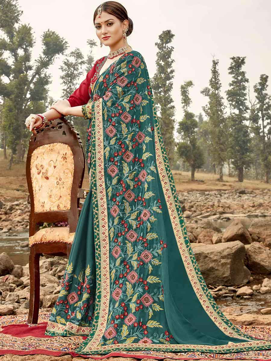 Teal Green Silk Embroidered Festival Saree