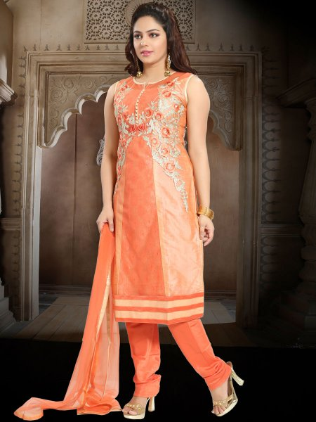 Coral Orange Net Embroidered Party Churidar Pant Kameez