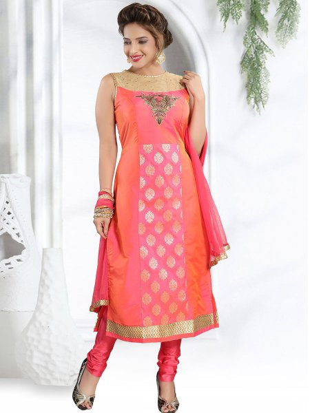 Brink Pink and Coral Pink Silk Embroidered Party Churidar Pant Kameez