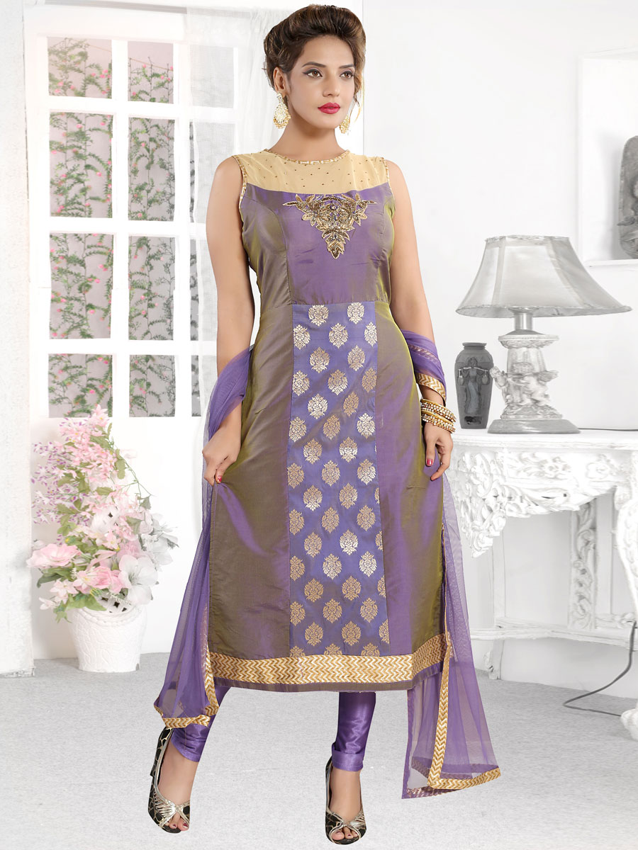 Purple Silk Embroidered Party Churidar Pant Kameez