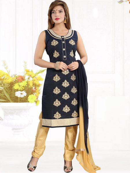 Sapphire Blue Chanderi Silk Embroidered Party Churidar Pant Kameez