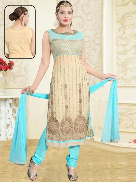 Beige Yellow and Sky Blue Net Embroidered Party Churidar Pant Kameez