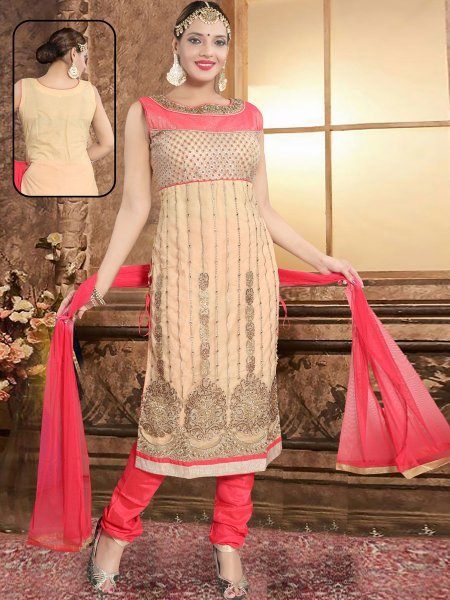 Beige Yellow and Coral Pink Net Embroidered Party Churidar Pant Kameez