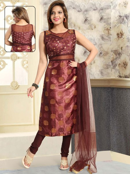 Cordovan Brown Brocade Embroidered Party Churidar Pant Kameez