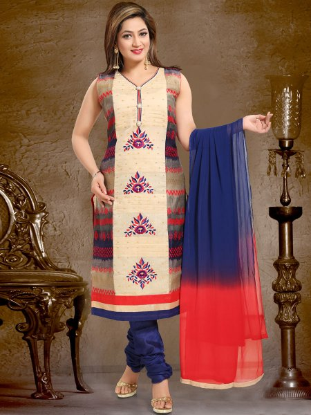 Cream Yellow and Dark Blue Chanderi Silk Embroidered Party Churidar Pant Kameez