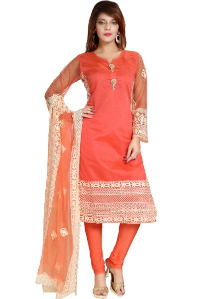 Carmine Pink Chanderi Silk Embroidered Festival Churidar Pant Kameez