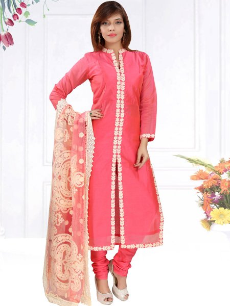 Brink Pink Chanderi Silk Embroidered Party Churidar Pant Kameez