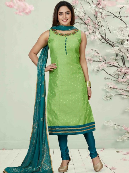 Parrot Green Chanderi Silk Embroidered Party Churidar Pant Kameez