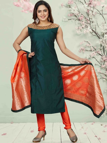 Midnight Green Chanderi Silk Embroidered Party Churidar Pant Kameez