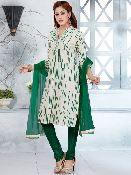 White and Dark Green Cotton Printed Casual Churidar Pant Kameez