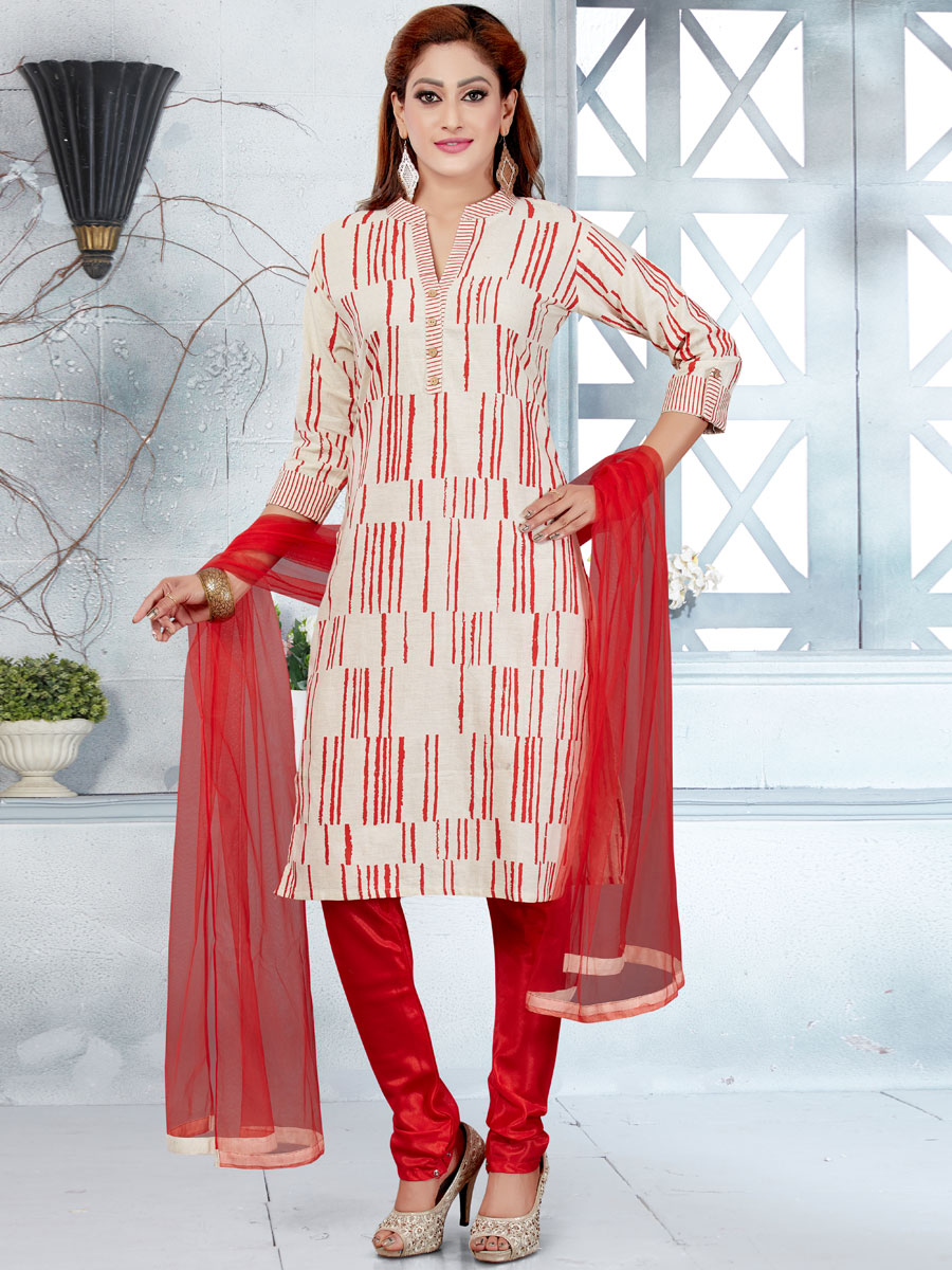 White and Rose Madder Red Cotton Printed Casual Churidar Pant Kameez