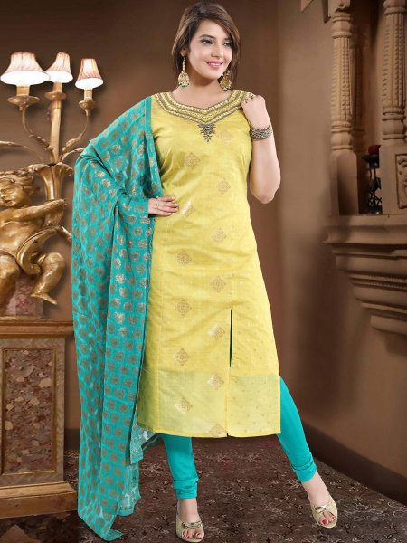 Lemon Green Chanderi Silk Embroidered Party Churidar Pant Kameez