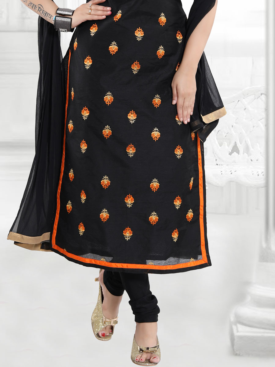 Black Chanderi Silk Embroidered Party Churidar Pant Kameez