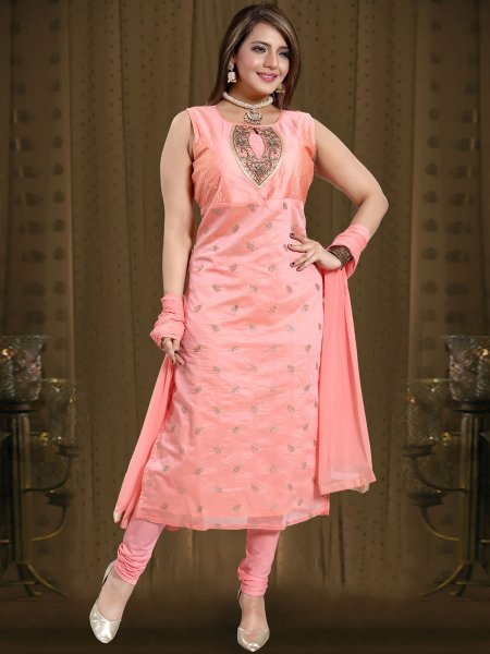 Salmon Pink Chanderi Silk Embroidered Festival Churidar Pant Kameez