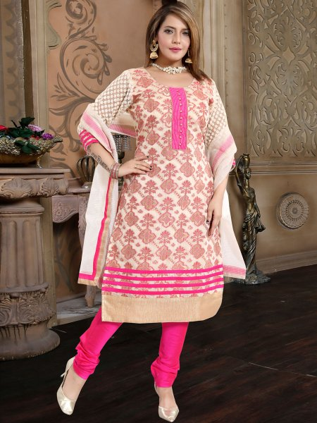 Cream Yellow and Magenta Pink Banarasi Silk Handwoven Festival Churidar Pant Kameez