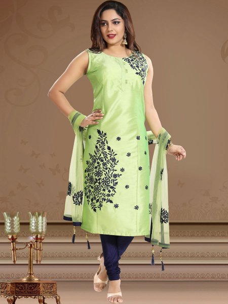 Moss Green Silk Embroidered Festival Churidar Pant Kameez