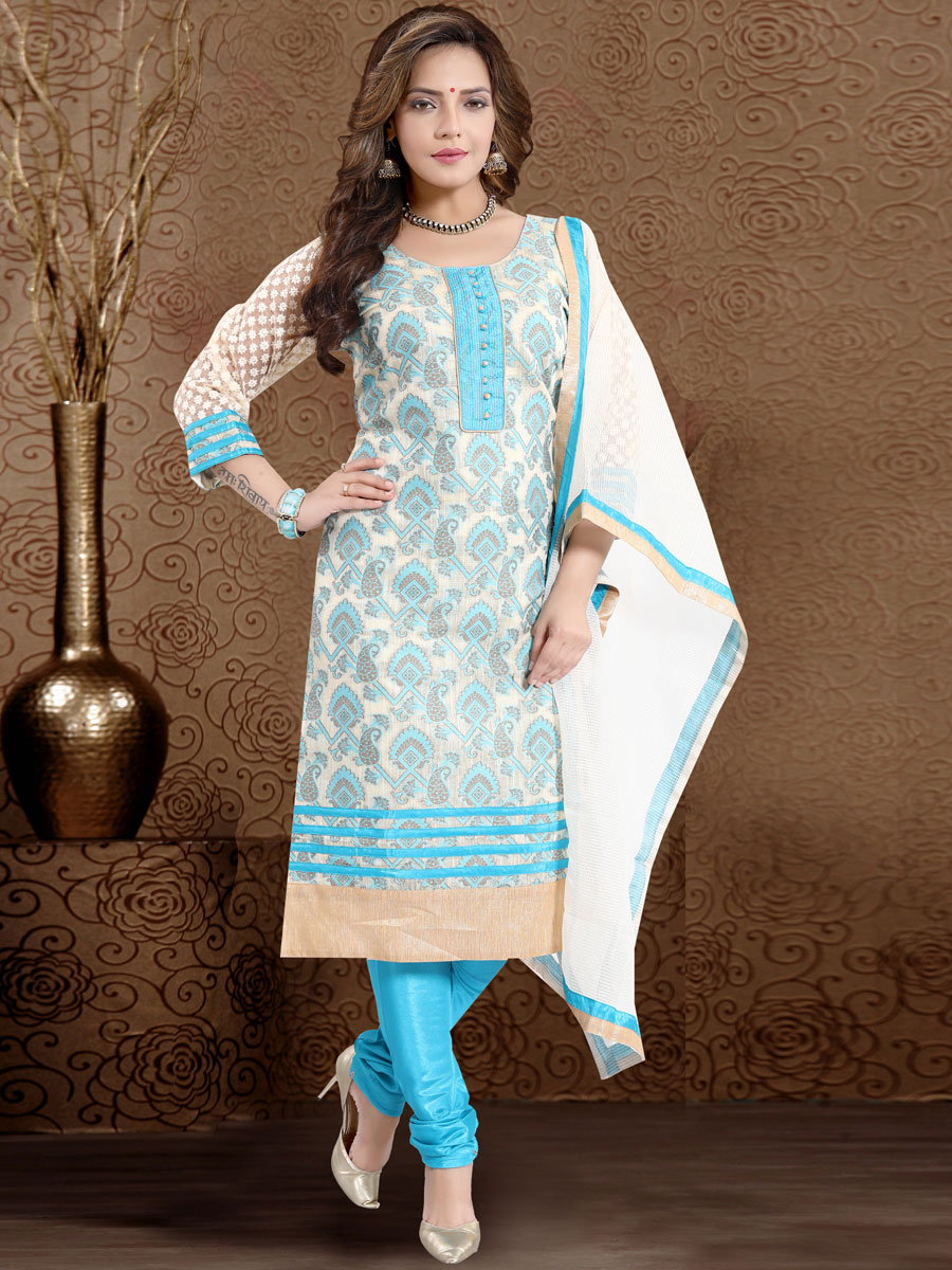 Cream Yellow and Sky Blue Banarasi Silk Handwoven Festival Churidar Pant Kameez