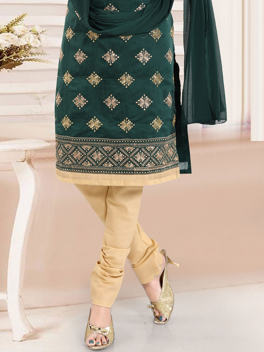 Midnight Green Chanderi Silk Embroidered Festival Churidar Pant Kameez