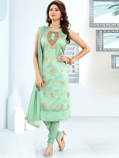 Celadon Green Chanderi Silk Embroidered Festival Churidar Pant Kameez