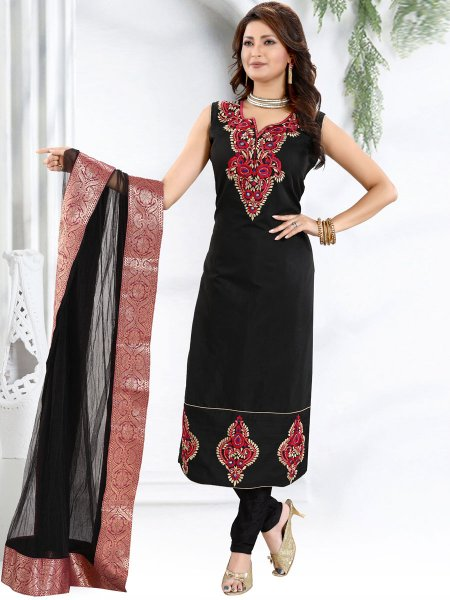 Black Chanderi Silk Embroidered Festival Churidar Pant Kameez
