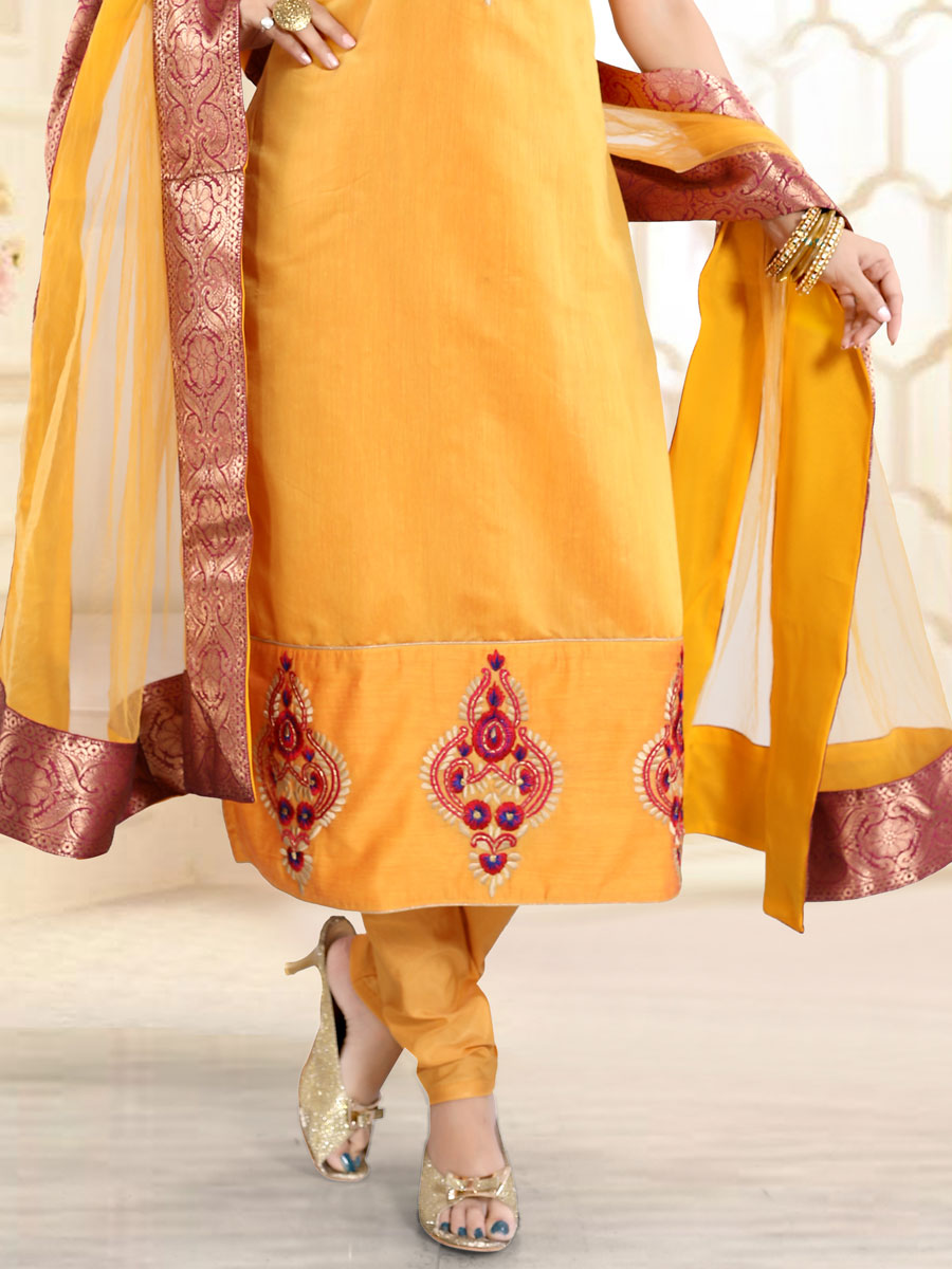 Amber Yellow Chanderi Silk Embroidered Festival Churidar Pant Kameez