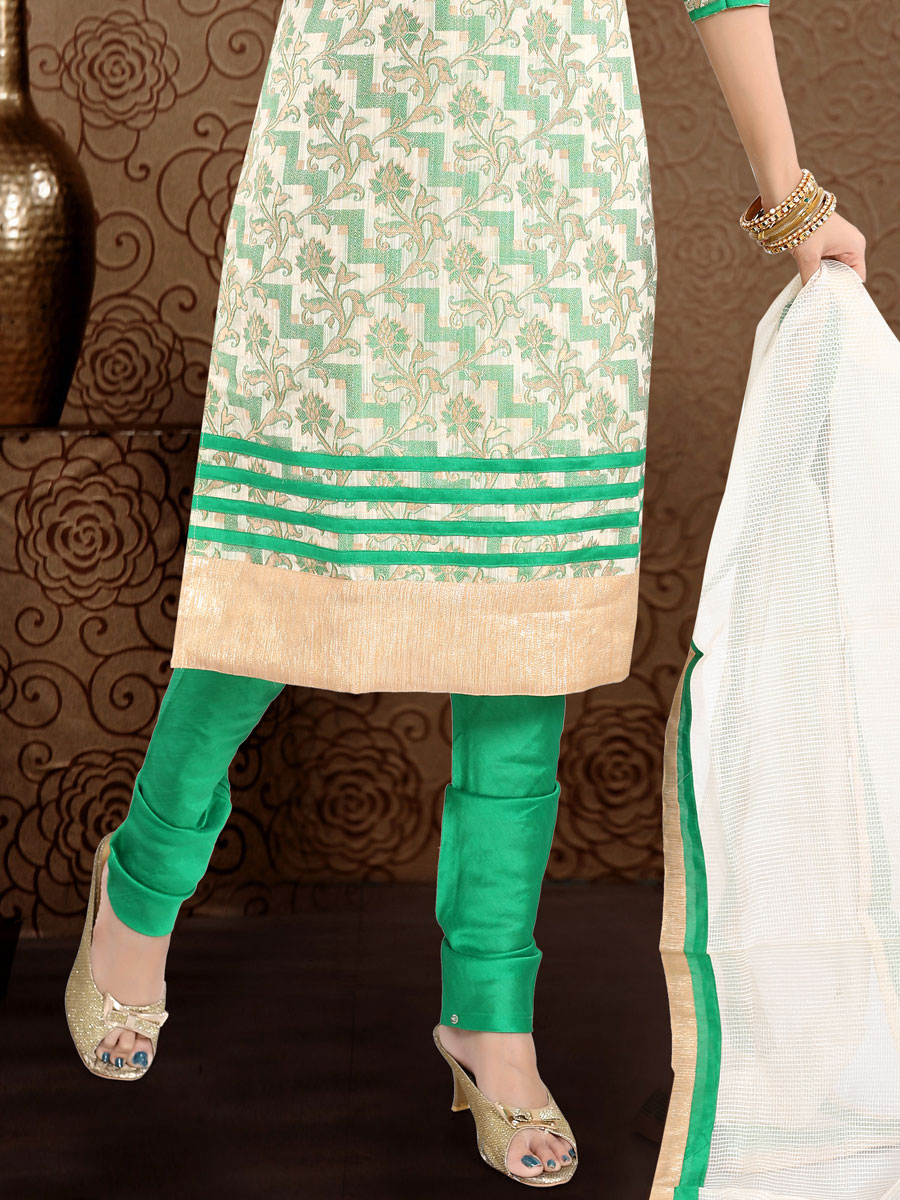 Cream Yellow and Sea Green Banglori Silk Handwoven Festival Churidar Pant Kameez
