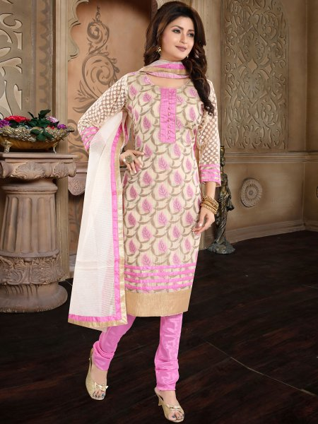 Cream Yellow and Lavender Pink Banglori Silk Handwoven Festival Churidar Pant Kameez
