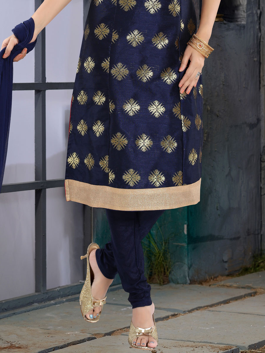 Navy Blue Brocade Embroidered Party Churidar Pant Kameez