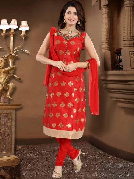 Rose Madder Red Brocade Embroidered Party Churidar Pant Kameez