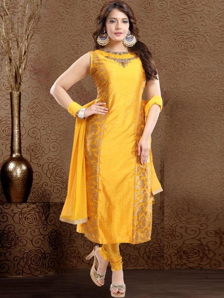 Amber Yellow Brocade Embroidered Party Churidar Pant Kameez