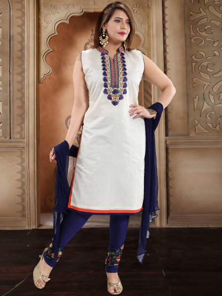 White Chanderi Silk Embroidered Party Churidar Pant Kameez