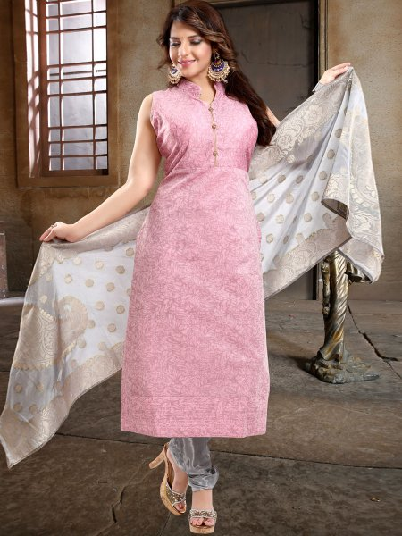 Salmon Pink Chanderi Silk Printed Party Churidar Pant Kameez