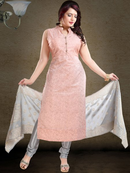 Tea Rose Pink Chanderi Silk Printed Festival Churidar Pant Kameez