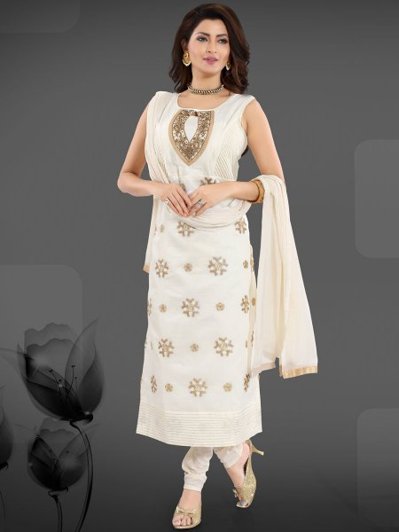 White Chanderi Silk Embroidered Festival Churidar Pant Kameez