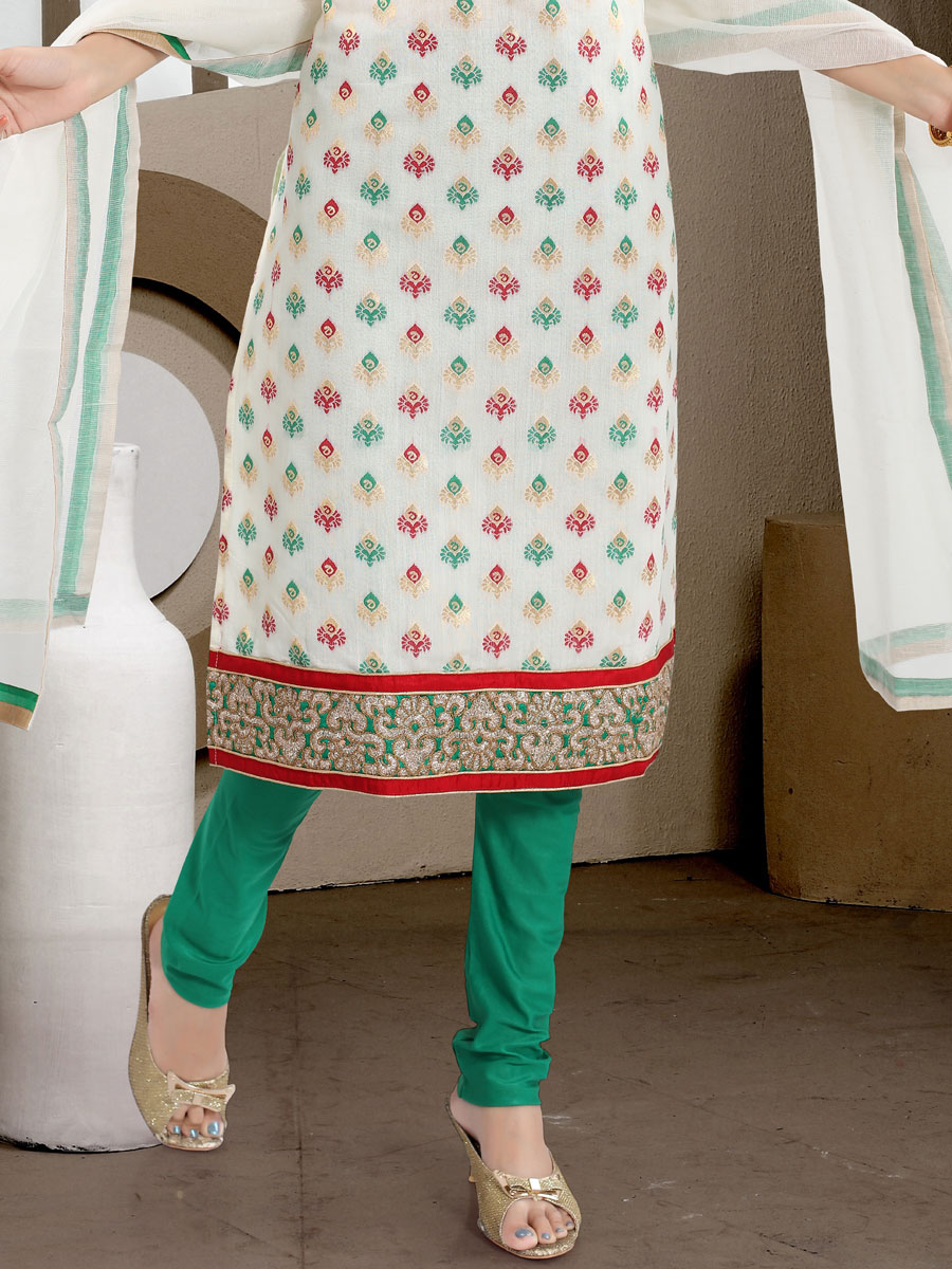 White and Sea Green Silk Embroidered Festival Churidar Pant Kameez