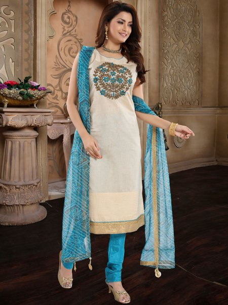 Cream Yellow and Robin-Egg Blue Chanderi Silk Embroidered Festival Churidar Pant Kameez