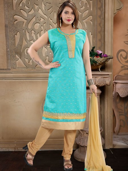 Robin-Egg Blue Chanderi Silk Embroidered Festival Churidar Pant Kameez