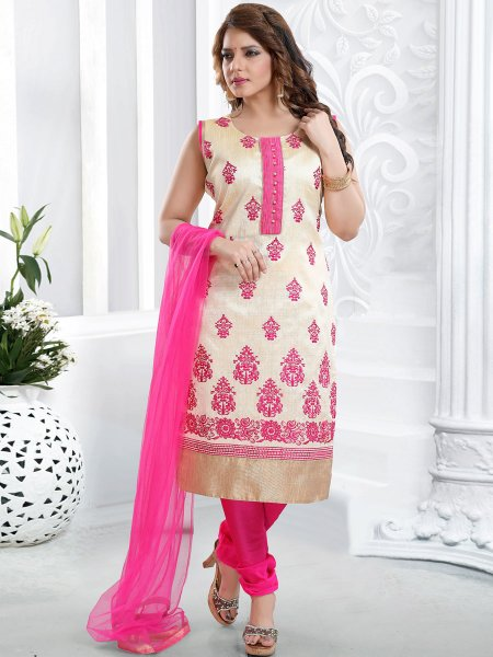 Cream Yellow and Cerise Pink Silk Embroidered Party Churidar Pant Kameez