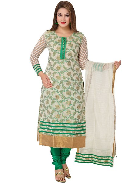 Cream Yellow and Green Banarasi Silk Handwoven Party Churidar Pant Kameez