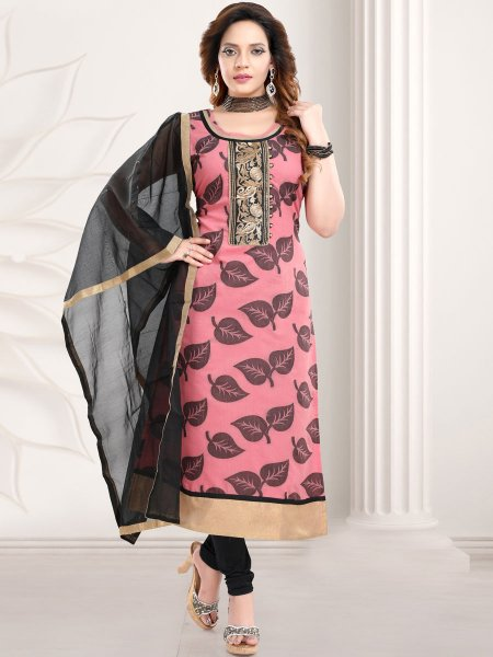 Brink Pink Banarasi Silk Embroidered Party Churidar Pant Kameez