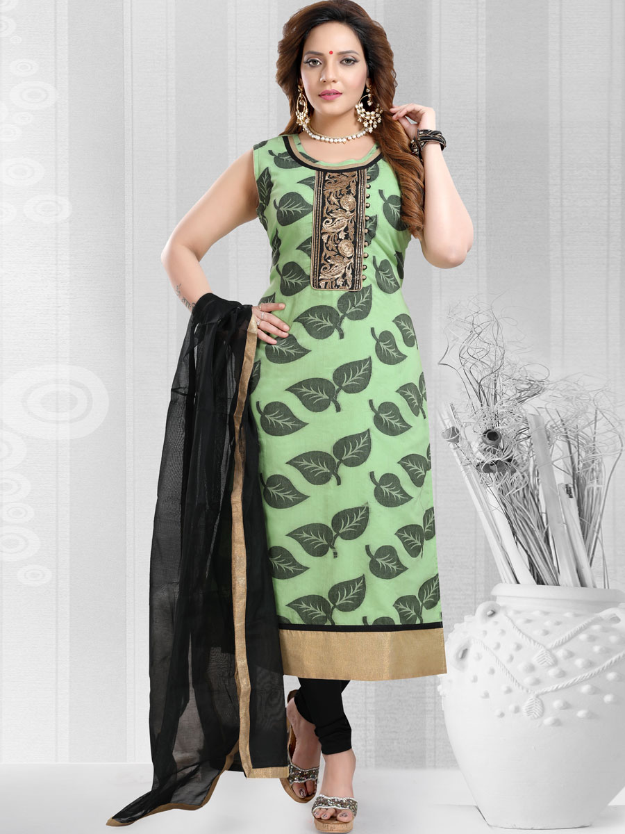 Light Green Banarasi Silk Embroidered Party Churidar Pant Kameez