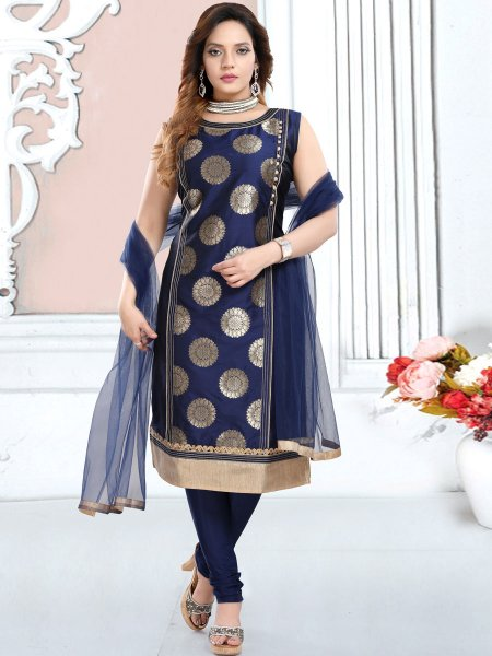 Navy Blue Silk Handwoven Party Churidar Pant Kameez