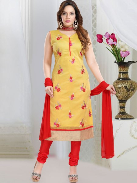 Jonquil Yellow Chanderi Silk Embroidered Party Churidar Pant Kameez