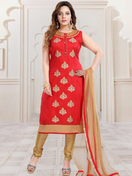 Rose Madder Red Chanderi Silk Embroidered Party Churidar Pant Kameez