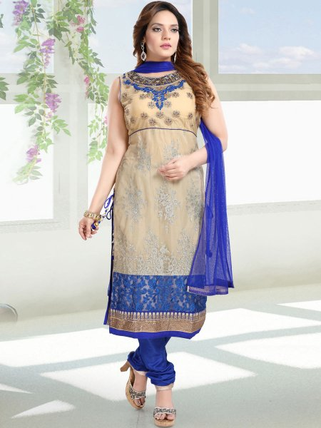 Cream Yellow and Dark Blue Net Embroidered Festival Churidar Pant Kameez