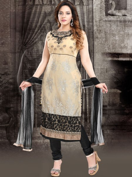 Cream Yellow and Black Net Embroidered Festival Churidar Pant Kameez
