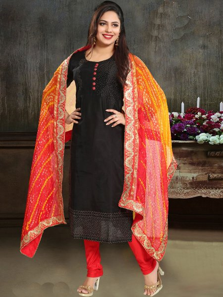 Black Chanderi Silk Plain Festival Churidar Pant Kameez