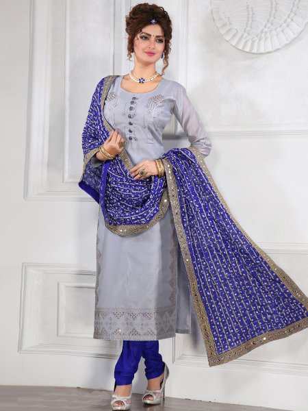 Gray Chanderi Silk Plain Festival Churidar Pant Kameez