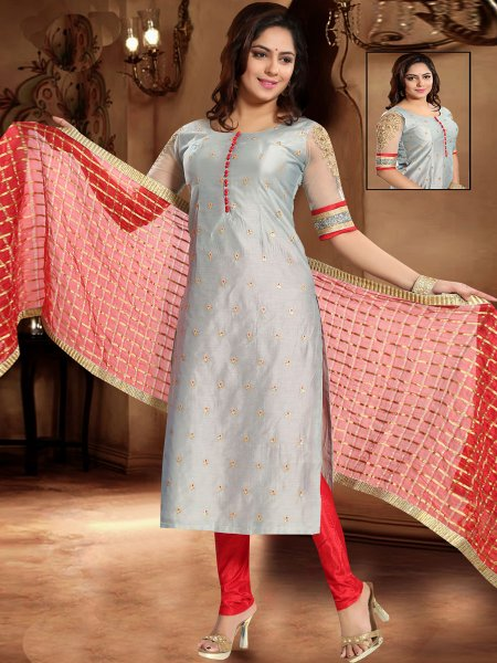 Gray Chanderi Silk Embroidered Festival Churidar Pant Kameez