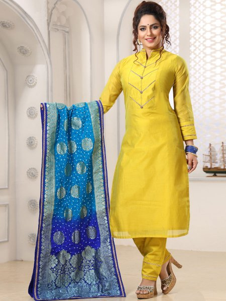 Lemon Green Chanderi Silk Embroidered Festival Pant Kameez
